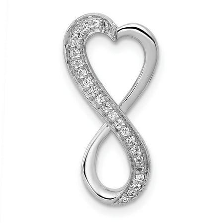 14k White Gold Diamond Freeform Heart Chain Slide Pendant - .10 dwt
