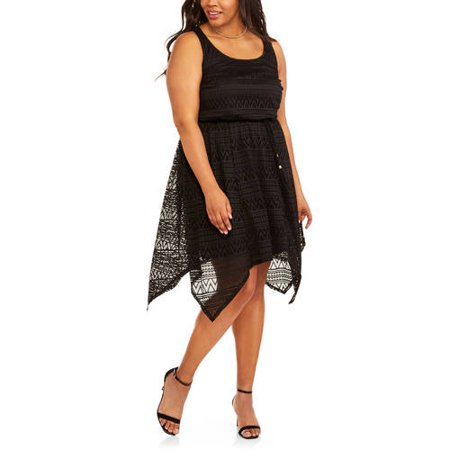 Faded Glory Women's Plus Hanky Hem Lace Dress