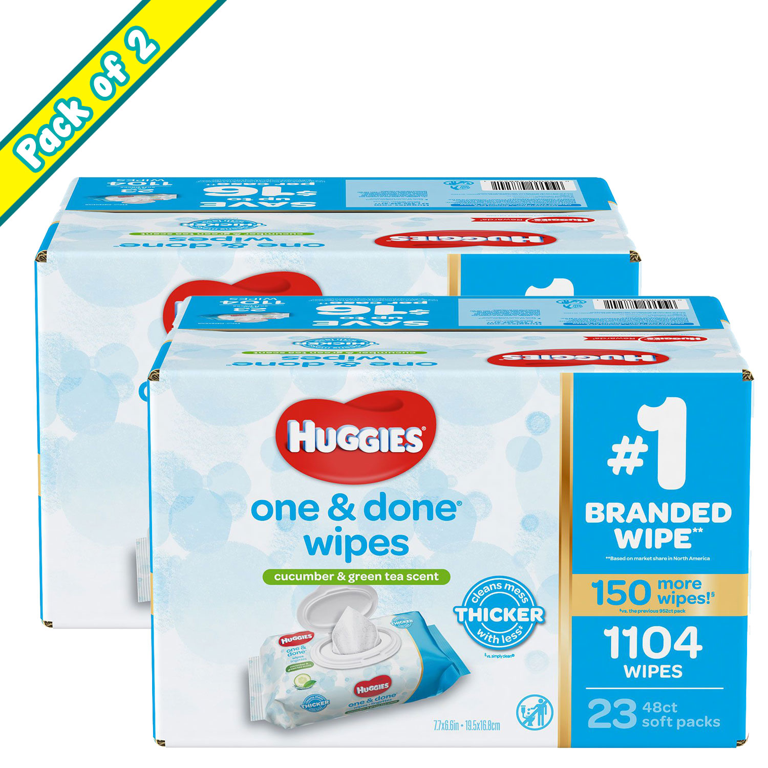 Pack of 2 Huggies One & Done Alcohol-Free, Paraben-Free, Phenoxyethanol-Free & MIT-Free Baby Wipes, Scented - 1,104 ct.