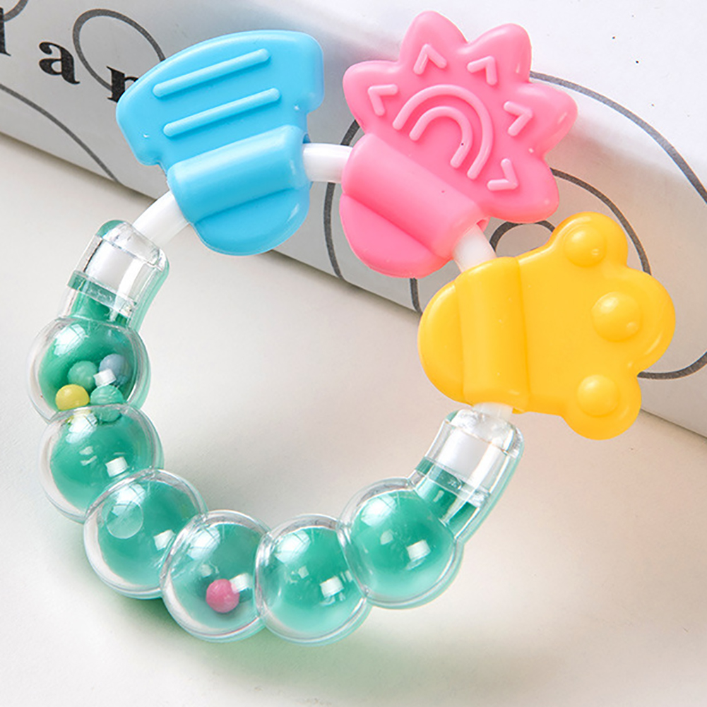 Baby Cartoon Rattle Teether Educational Mobiles Toys Teeth Biting Baby Rattle Toy Silicone Handbell