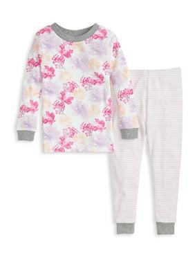 Burt's Bees Baby Organic Cotton Baby Girls and Toddler Girls Snug Fit Long Sleeve Pajamas, 2-Piece Set