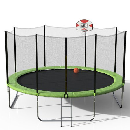 Trampoline with Basketball Hoop for Kids, 2019 Upgraded 14ft Trampoline with Backboard Enclosure Net Jumping Mat, Safety Spring Cover Padding, 7.6ft Basketball Hoop & Ladder, Toys for Toddlers, S11606
