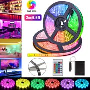 TSV LED Strip Light, Waterproof 3.3/6.6Ft RGB SMD 5050 LED Rope Lighting Color Changing Kit with 24-keys IR Remote Controller & Self-adhesive Back, Power Supply Led Lights for Bedroom Home Xmas Decor