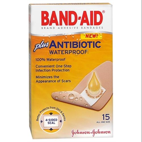 BAND-AID Plus Antibiotic Waterproof Bandages All One Size 15 Each (Pack of 4)