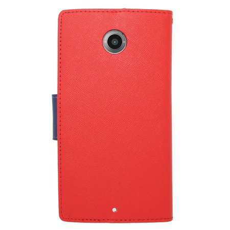 Insten Book-Style Leather Fabric Cover Credit Card Stand Case Lanyard for Motorola Google Nexus 6 - Red/Blue - image 2 de 3