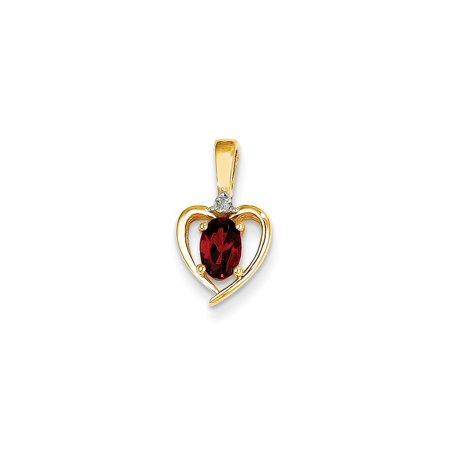 14k Yellow Gold Diamond Red Garnet Pendant Charm Necklace Gemstone Birthstone January Set Style