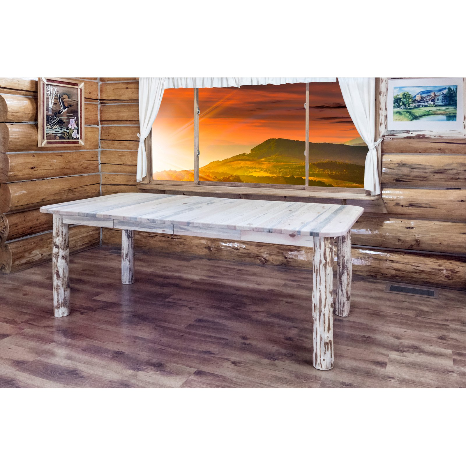 Montana Woodworks Montana Post Dining Table with Leaves
