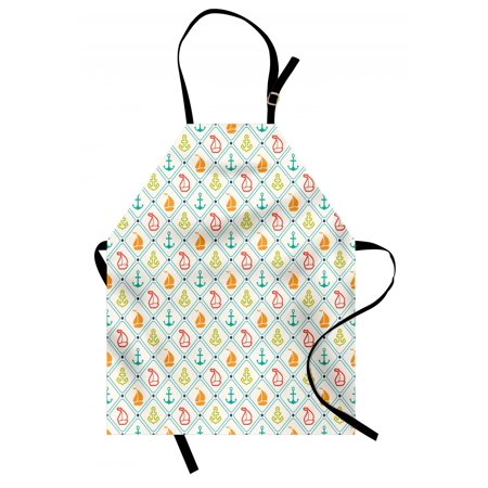 Nautical Apron Marine Life Sailboat Yacht Anchor Pattern Offshore Coastal Trip Retro Sea Design, Unisex Kitchen Bib Apron with Adjustable Neck for Cooking Baking Gardening, Multicolor, by