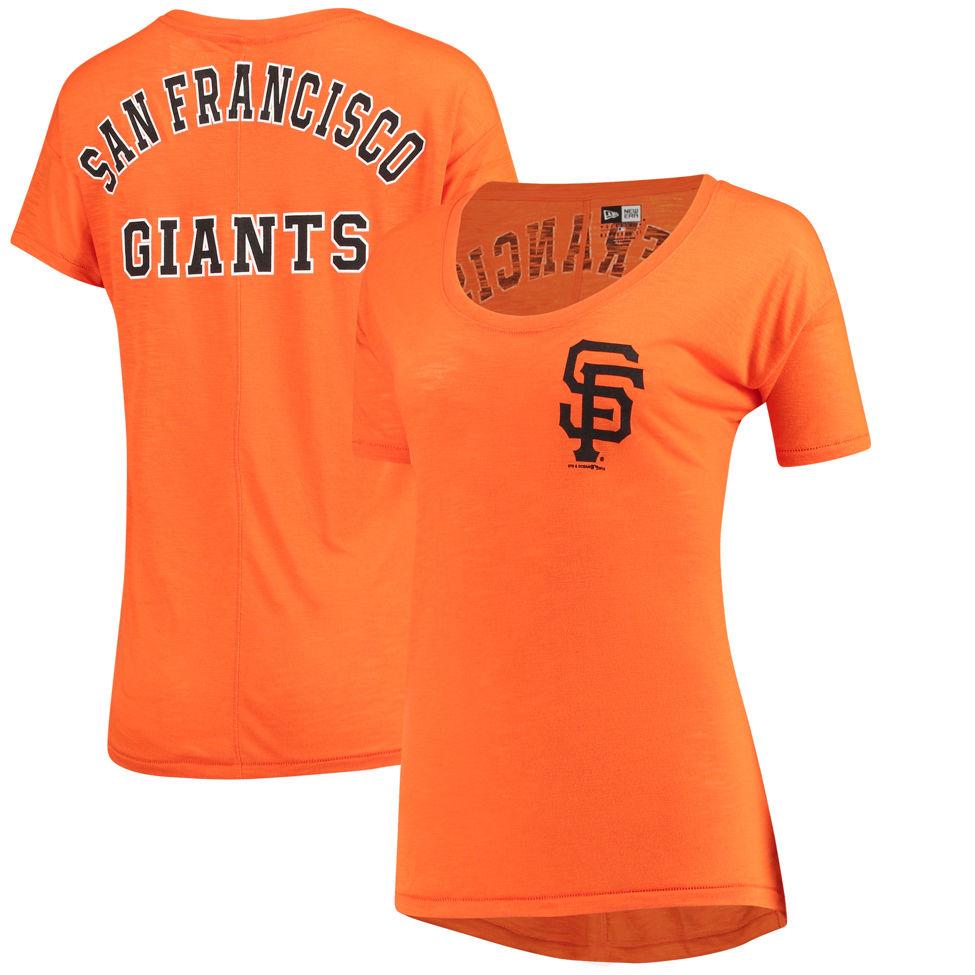 San Francisco Giants 5th & Ocean by New Era Women's Slub Jersey T-Shirt - Orange