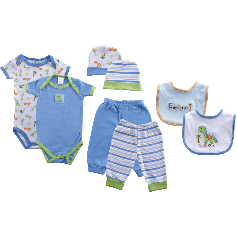 Luvable Friends Newborn Baby Boy Grow with Me 8-Piece Layette Set, Blue