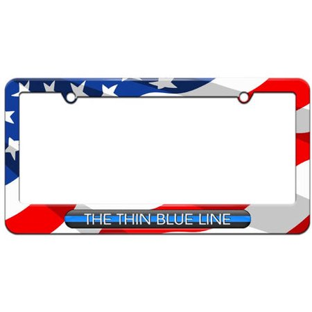 The Thin Blue Line, Police License Plate Tag Frame, Multiple Colors ...