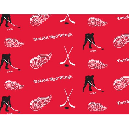Detroit Red Wings Super Soft Fleece Fabric Classic All Over Design-Sold By The Yard (Red Wings Fabric)