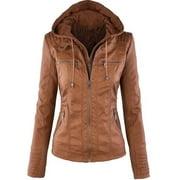 Women's PU Leather Motorcycle Biker Hooded Zipper Retro Outerwear Jacket Coat
