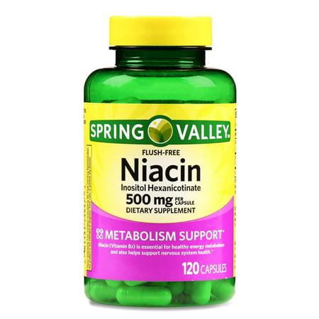 Spring Valley Niacin Capsules, 500 mg, 120 Ct Bcaa 500 Mg 120 Capsules