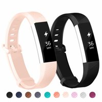POY 2-Pack Replacement Sport Wrist Strap Bands for Fitbit Alta/Fitbit Alta HR (Black, Pink)