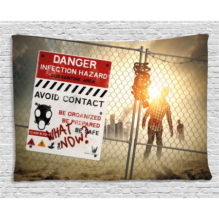 Zombie Decor Tapestry, Dead Man Walking Dark Danger Scary Scene Fiction Halloween Infection Picture, Wall Hanging for Bedroom Living Room Dorm Decor, 60W X 40L Inches, Multicolor, by Ambesonne