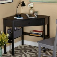 Deals on Corner Writing Desk with Pullout Drawer and Shelf 23607BLK