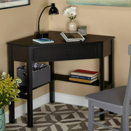 Corner Writing Desk With Pullout Drawer And Shelf Multiple Finishes Com