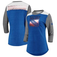 New York Rangers Fanatics Branded Women's Iconic Tri-Blend 3/4-Sleeve T-Shirt - Heathered Royal/Heathered Gray