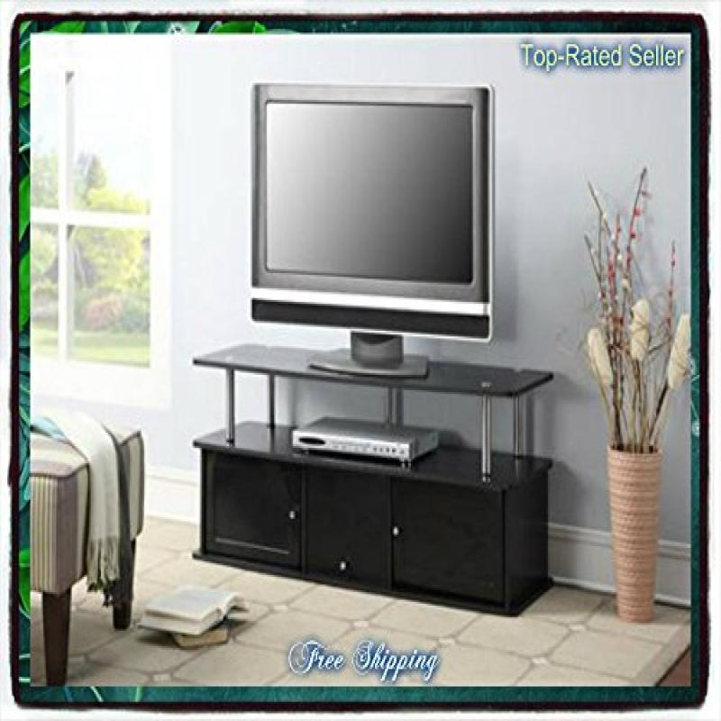 Black Tv Stand Media Entertainment Center 42 50 60 Inch Flat Screen  Television Console Storage Furniture