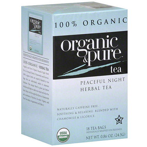 Organic & Pure Peaceful Night Herbal Tea, 18BG (Pack of 6)