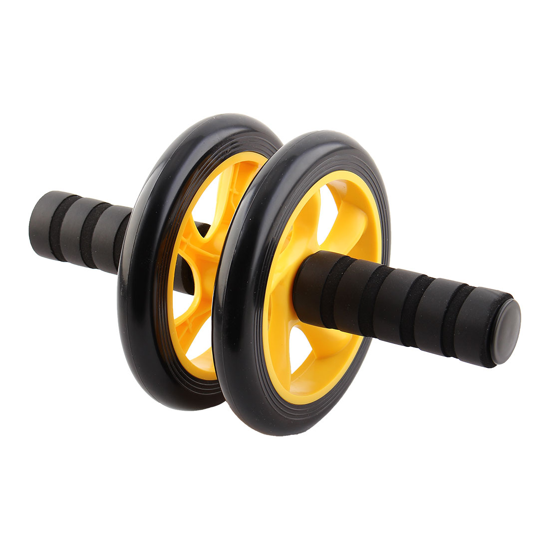 Nonslip Handles Fitness Exercise Abdominal Workout Double Wheel Rollers Yellow