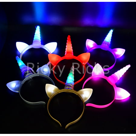 Glimmer Favor - 12 Flashing Unicorn Headbands Light Up Ears Costume Horn Party Favors Magical Recuerdos Unicornio