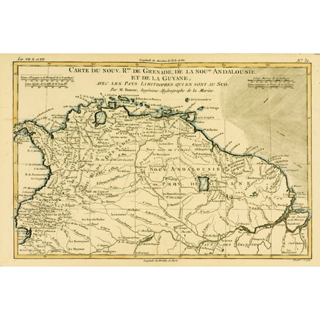 Map Of Grenada New Andalucia And Guyana Circa1760 From Atlas De Toutes Les Parties Connues Du Globe Terrestre  By Cartographer Rigobert Bonne Published Geneva Circa 1760 PosterPrint