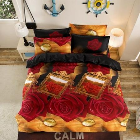 3D Double Single Size Bedding Quilt Duvet Cover Pillowcase Set Bedroom Home Decor ()