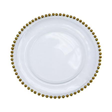 Trim 1 Piece - Beaded Glass Charger Plate Approx. overall 12