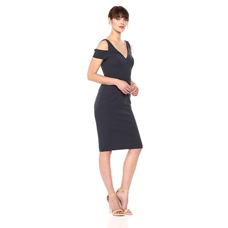 Vera Wang Women's Cold Shoulder Cocktail Dress with Cutout Back, Storm, 2