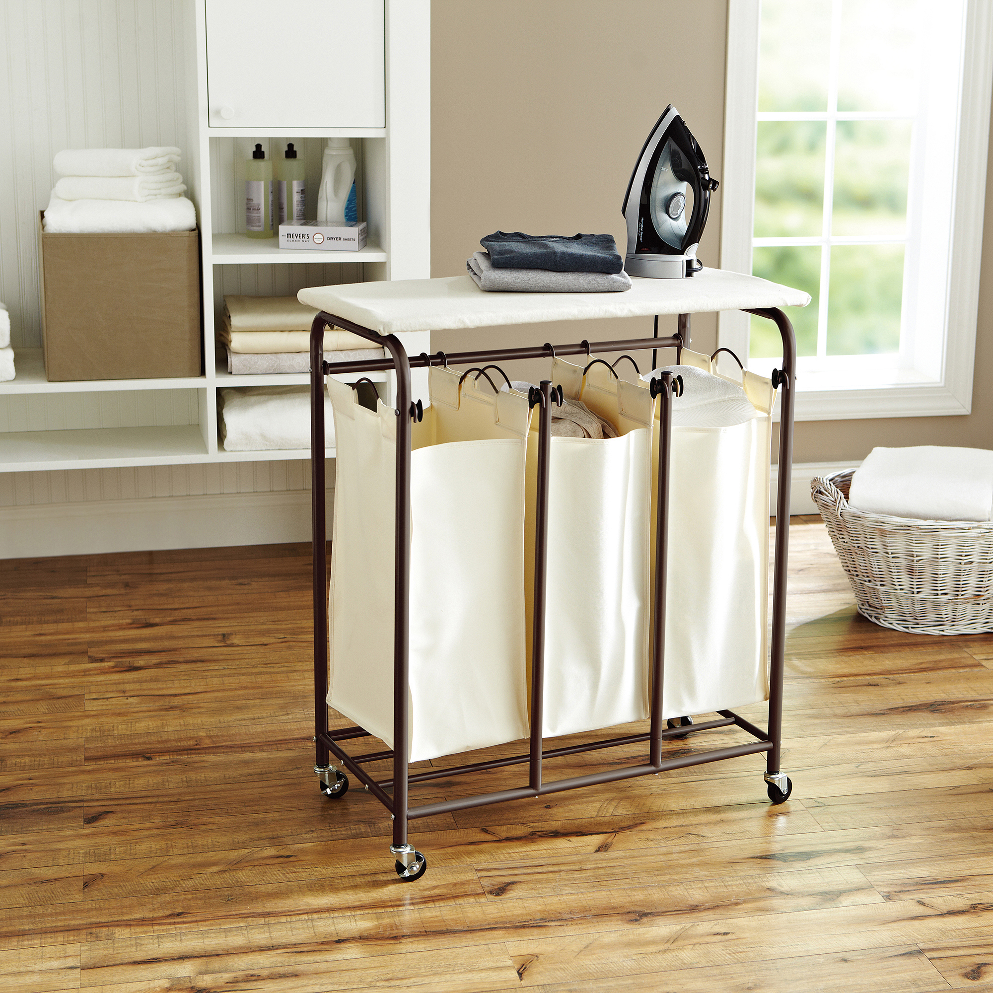 Better Homes and Gardens 3-Compartment Sorting and Ironing System, Brown/Ivory