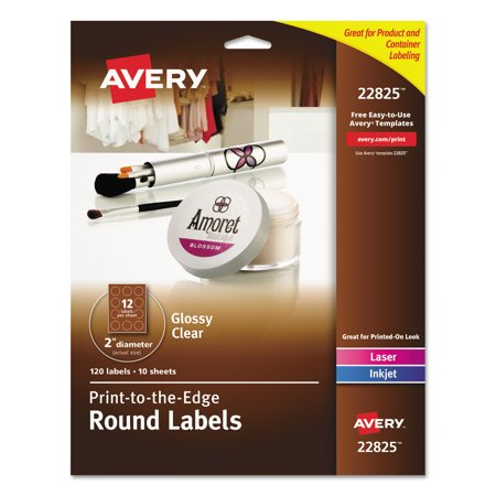 Avery Round Print To The Edge Labels 2 Dia Glossy Clear 120pack