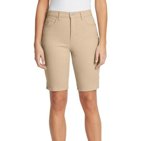 Gloria Vanderbilt Womens Amanda Button Accent Bermuda Shorts 14 Perfect khaki beige