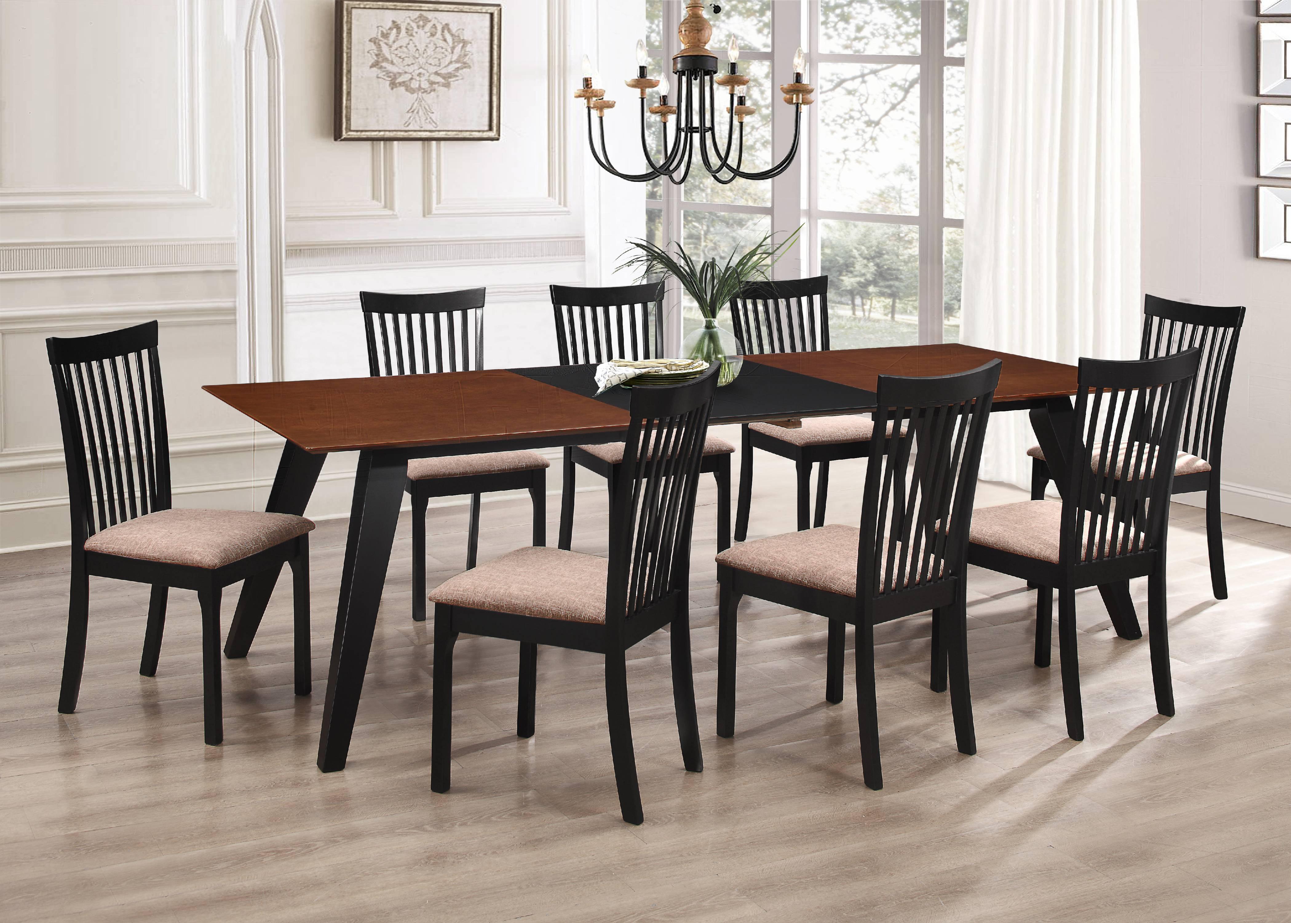 Verona 9 Piece Formal Dining Room Set Walnut Black Wood