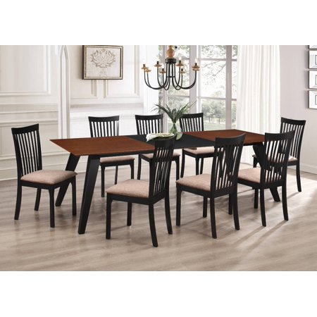 Verona 9 Piece Formal Dining Room Set, Walnut Black Wood & Light Brown Polyester Seats, Rectangular, Contemporary (Table With Two Leaf Extensions & 8 Chairs) ()