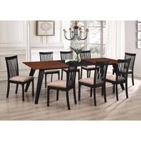 Verona 9 Piece Formal Dining Room Set, Walnut Black Wood & Light Brown Polyester Seats, Rectangular, Contemporary (Table With Two Leaf Extensions & 8 Chairs)