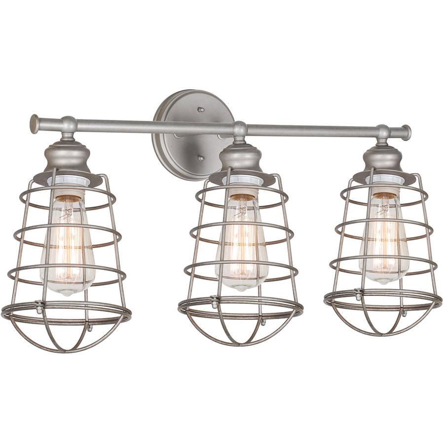 Design House 519728 Ajax 3-Light Bathroom Vanity Light, Galvanized Steel
