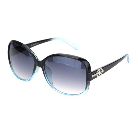 Womens 90s Jewel Buckle Design Rectangular Butterfly Sunglasses Black Blue