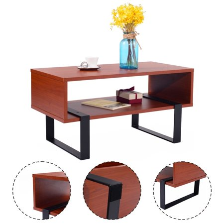 Costway Coffee End Table Wood And Metal Modern Living Room Furniture W Storage Shelf