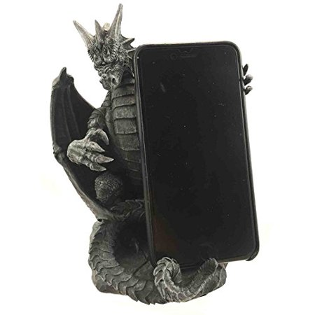 Gothic Standing Ferocious Guardian Dragon Cell Phone Holder Figurine Desktop Statue