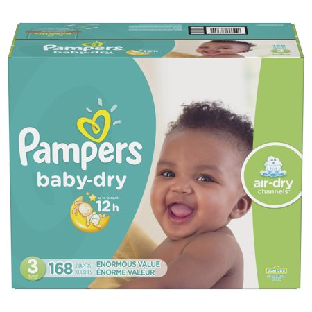 Pampers Baby-Dry Extra Protection Diapers, Size 3, 168 ct