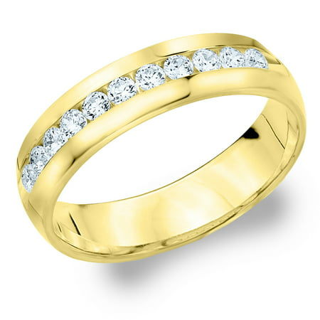 050 cttw diamond men39s wedding band in yellow gold 1 2 for Diamond wedding ring for him