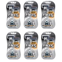 Bic Flex 5 Five Blade Disposable Razors 4 Count (3+1 Bonus) (Pack of 6)