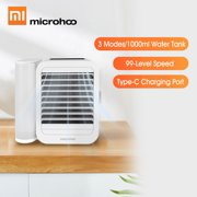 Microhoo USB Air Conditioner Fan 99 Speed Touch Screen 3 In 1 Mini Water Cooling Fan Timing Cooler Humidifier Type-C 1000ml 6W