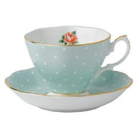 Polka Rose Formal Vintage Teacup and Saucer Boxed Set Multicolor POLKA ROSE TEACUP & SAUCER