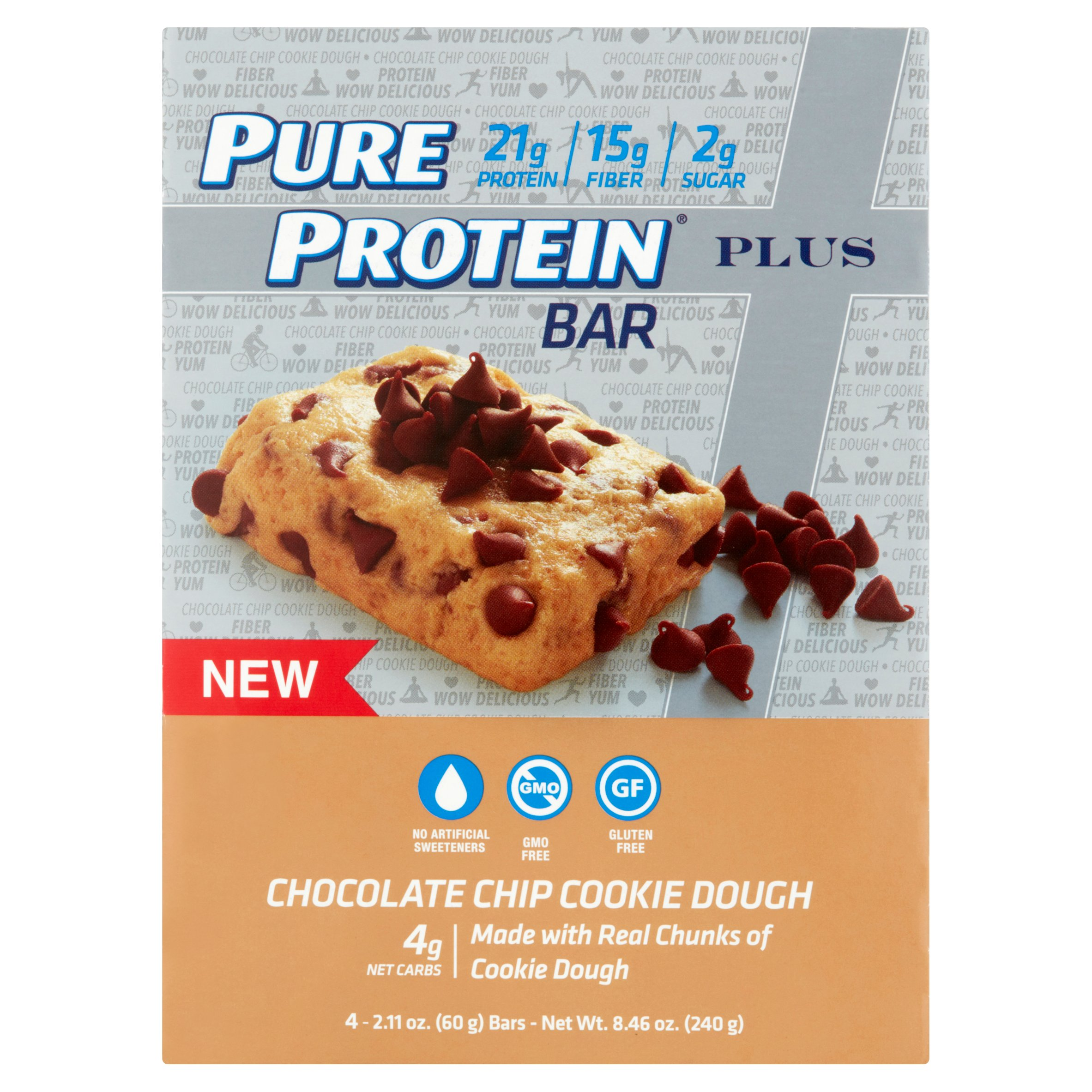 Pure Protein Bar, 21 Grams of Protein, Chocolate Chip Cookie Dough, 2.11 Oz, 4 Ct