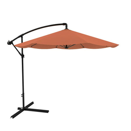 Patio Umbrella, Cantilever Hanging Outdoor Shade, Easy Crank and Base for Table, Deck, Balcony, Porch, Backyard, 10 Foot by Pure Garden (Terracotta) ()