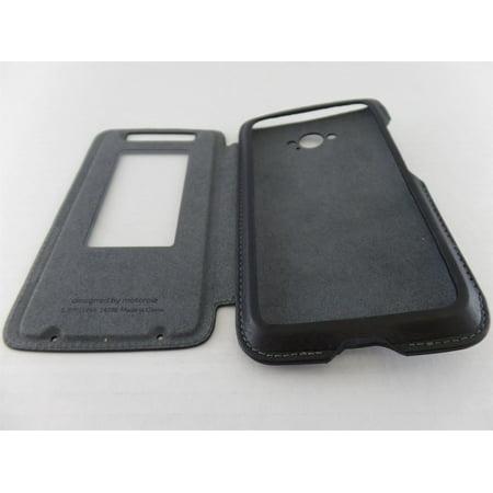 Motorola Flip Case For Motorola Droid Turbo (XT1254) Flip Case - Black  Leather/G