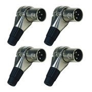 Seismic Audio 4 Pack of Adjustable Right Angle 3 Pin XLR Male Connector Plugs - 7 Position Silver - SAPT326-4Pack